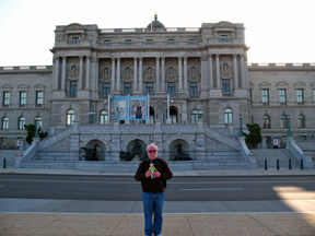 Uncle Tommy and Flat Nicholas pose before the Library of Congress' Jefferson Building.