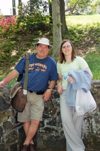 Garr Wharry and Theresa Pfeifer take a moment to pose for a picture at MerleFest 2011