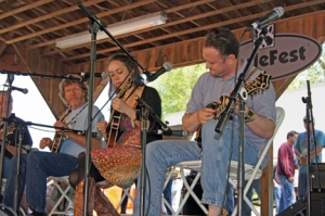 Sam Bush, Sarah Jarosz and Jesse Brock at Mando Mania