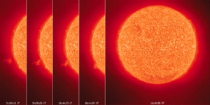 Series of photos showing solar flare.