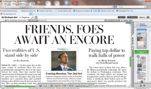 Washington Post front-page headline, Sunday, January 20, 2013: Friends, Foes Await An Encore