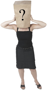woman wearing a paper bag with a black question mark on it