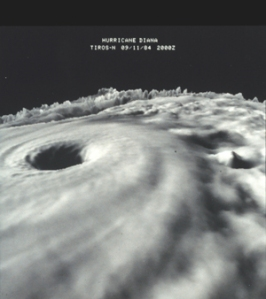 TIROS-N three dimensional cloud-top image of Hurricane Diana as it was strengthening from a Category III storm to a Category IV storm. This was one of the earliest three dimensional images of a hurricane from data obtained from satellite.      Image ID: spac0289, NOAA In Space Collection     Photo Date: 1984 September 11