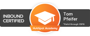 Badge signifying that Tom Pfeifer is Inbound Certified by HubSpot Academy
