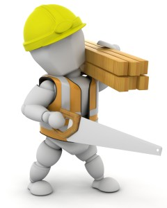 Cartoon of a faceless construction dude with hardhat, vest, a handsaw, and carrying 2X2s on his shoulder.