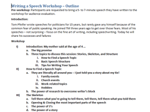 A screen shot of the first half page of an outline for my speech workshop