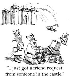 Vikings raiding a castle get a Facebook friend request from inside the castle