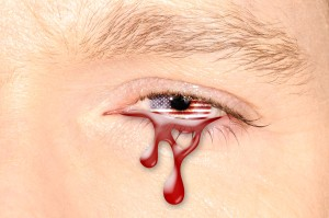 Crying eye with American Flag iris Can Stock Photo Inc.  bennymarty